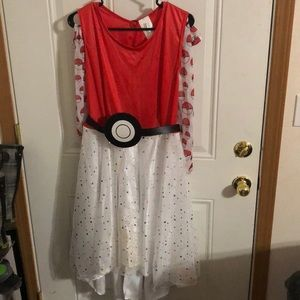 Pokémon poke ball costume. Dress belt and tights